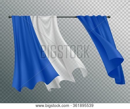 Billowing Curtains Composition With Image Of Curtain Track And Hanging Curtain With Lace On Transpar