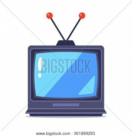 Old Tv With Antenna On A White Background. Flat Vector Illustration.