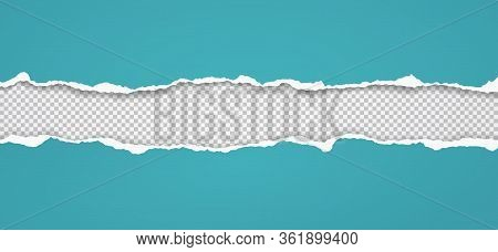 Torn, Ripped Pieces Of Horizontal Blue Paper With Soft Shadow Are On Squared Grey Background For Tex