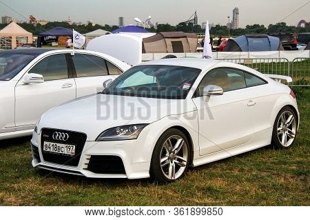 Moscow, Russia - July 6, 2012: White Coupe Car Audi Tt Rs Exhibited At The Annual Motorshow Autoexot