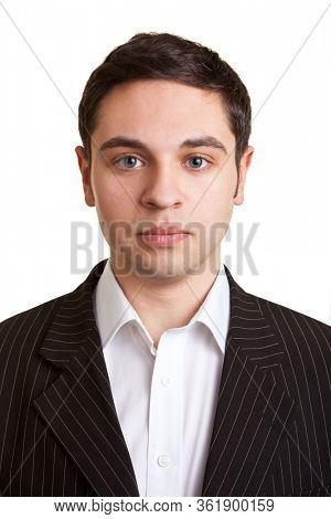 Frontal portrait of a serious looking businessman