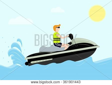 Man With Life Vest On Jet Ski. Sea, Sun, Clouds. Flat Style. Vector Jet Boat Scooter . Recreation Co