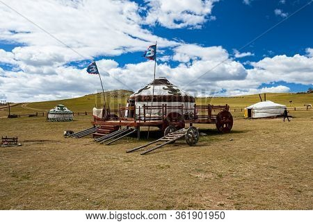 Ulan Bator, Mongolia - August 25, 2016: View Of The Mongolia 13th Century National Park Built As A