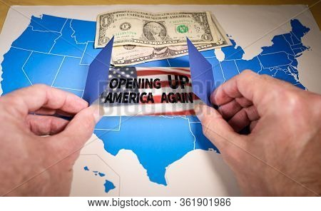 Hands Opening A Window On The United States Map With The Text Opening Up America Again
