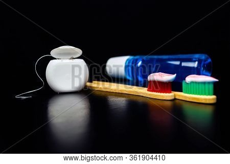 Dental And Oral Care Products. Hygiene Of Teeth And Oral Cavity.
