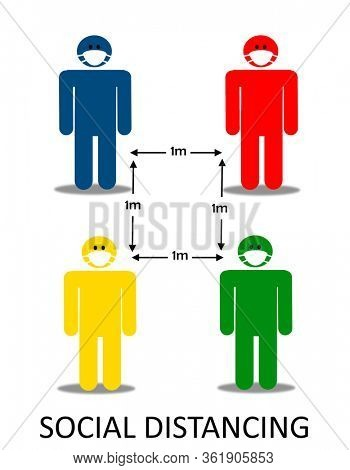 Four colorful pictogram,  social distancing concept
