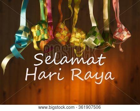 ribbon ketupat for ramadan festival with text selemat hari raya meaning welcome ramadan festive