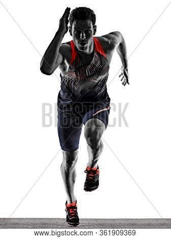 one young caucasian man practicing athletics runner running sprinter sprinting in studio isolated on white background