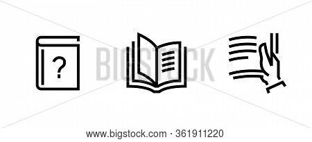 Set Book, Open Book Icon. Editable Line Vector.