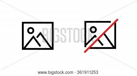 Set Picture And No Picture Icon. Editable Line Vector.