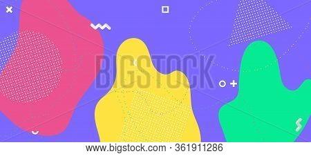 Multicolor Memphis Design. Graphic Abstract Wallpaper. Futuristic Liquid Ornament. Colorful Funky Te