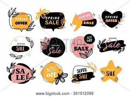 Spring Label Set, Vector Background, Special Price Poster, Super Sale Badge Illustration