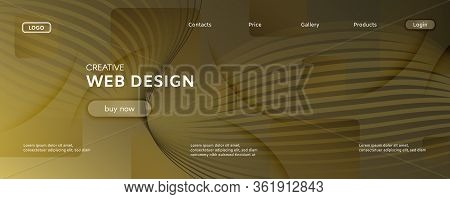 Abstract Vector Curve. Gold Dynamic Landing Page. 3d Fluid Shapes. Technology Banner. Yellow Abstrac