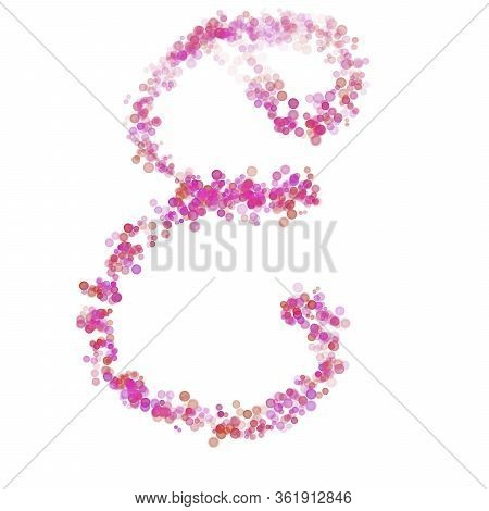 Letter E Latin Alphabet. Pink Dot Circles, Shades Of Pink Lilac. Lettering Bubbles Circles, Hand Dra