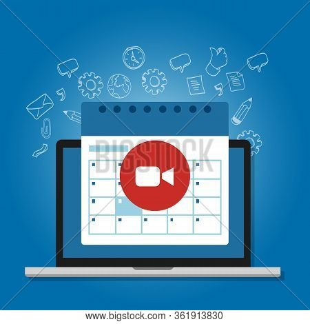 Schedule Business Meeting In Video Call During Social Distancing Using Laptop Calendar