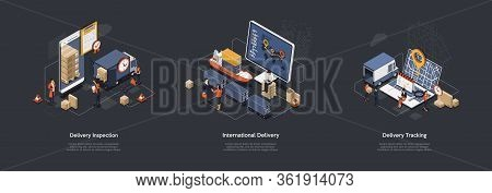 Isometric 3d International Worldwide Delivery And Global Logistics. Work Staff Process An Many Order