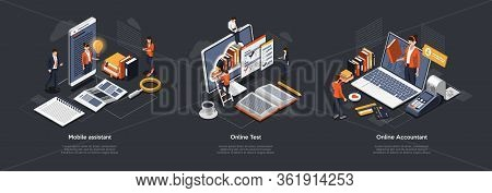 Isometric 3d Online Test, Accountant And Mobile Assistant. Customer Online Support, Testing And Educ