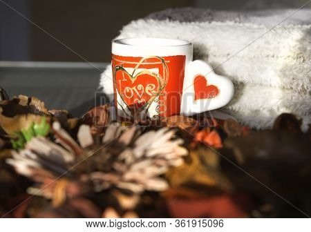 Cup of love with coffee reflected on the glass. Cozy and homey