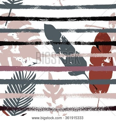 Sailor Stripes Vector Seamless Pattern, Brown Green Khaki Exotic Floral Print. Adventure Jungle Leav