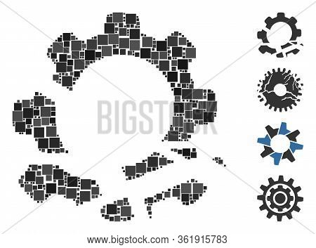 Mosaic Gear Destruction Icon Organized From Square Items In Random Sizes And Color Hues. Vector Squa