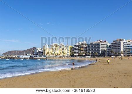 Las Canteras Beach (playa De Las Canteras) In Las Palmas De Gran Canaria, Canary Island, Spain. One