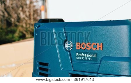 Strasbourg, France - Feb 9, 2020: Red Bosch Logotype On The Professional Gas 35 M Afc Wet And Dry Va