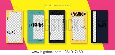 Mobile Stories Vector Collection. Blogger Trendy Cards, Social Media Kit Template. Tech Sale, New Ar