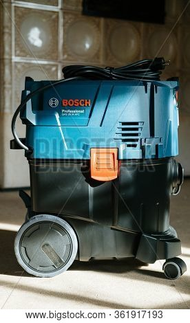 Strasbourg, France - Feb 9, 2020: Blue Color Cast Front View Of Bosch Professional Gas 35 M Class Af