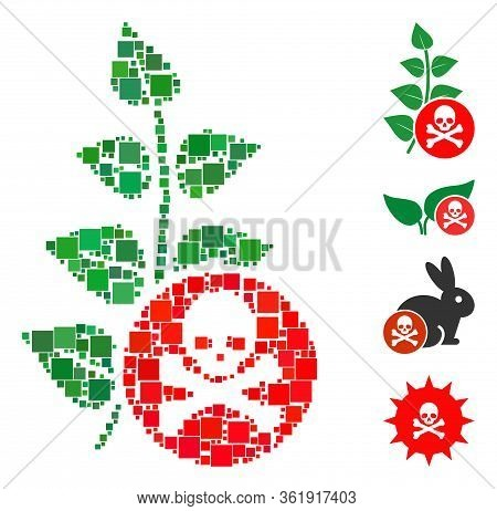 Collage Herbicide Toxin Icon Designed From Square Elements In Variable Sizes And Color Hues. Vector