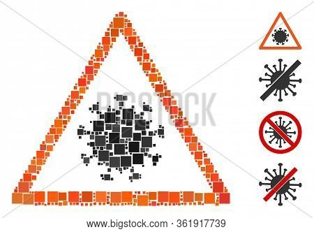 Mosaic Sars Virus Warning Icon United From Square Items In Various Sizes And Color Hues. Vector Squa