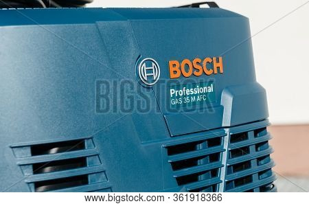 Strasbourg, France - Feb 9, 2020: Close-up Logotype Of New Bosch Gas 35 M Afc Professional Wet Dry V