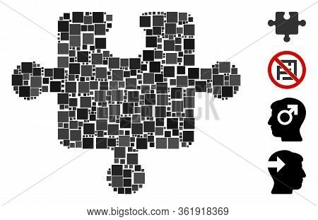 Collage Puzzle Piece Icon Composed Of Square Elements In Random Sizes And Color Hues. Vector Square