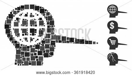 Collage Global Liar Icon United From Square Items In Various Sizes And Color Hues. Vector Square Ite