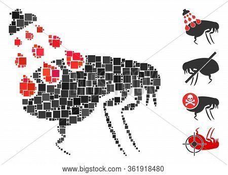 Mosaic Get Rid Of Fleas Icon Composed Of Square Items In Different Sizes And Color Hues. Vector Squa