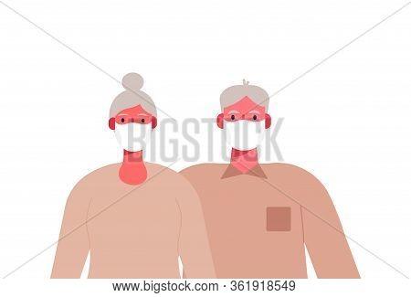 Coronavirus. Novel Virus 2019-ncov. An Elderly Couple In Masks On Their Faces. Protection Of Old Peo