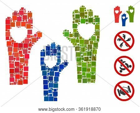 Collage Tolerance Hands Icon Organized From Square Items In Variable Sizes And Color Hues. Vector Sq