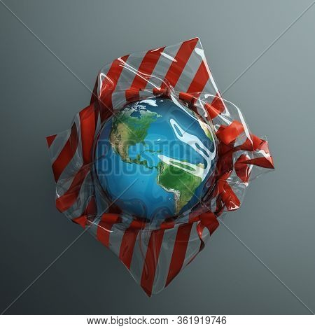 Abstract illustration of global ecological problems - Earth globe packed in a transparent plastic bag. 3D render.
