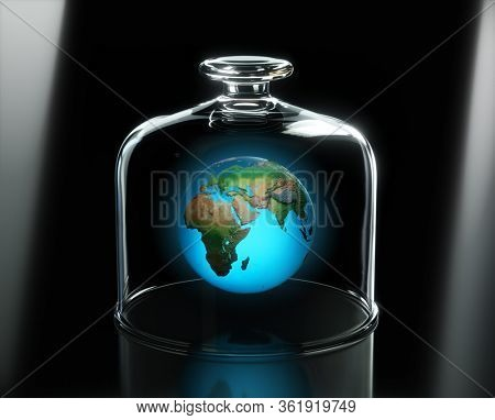 Abstract illustration of global ecological problems - Earth globe floating in the air under glass plate cover. 3D Render