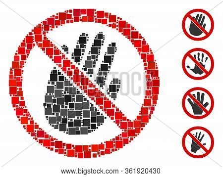 Mosaic Restricted Hand Icon Designed From Square Elements In Various Sizes And Color Hues. Vector Sq