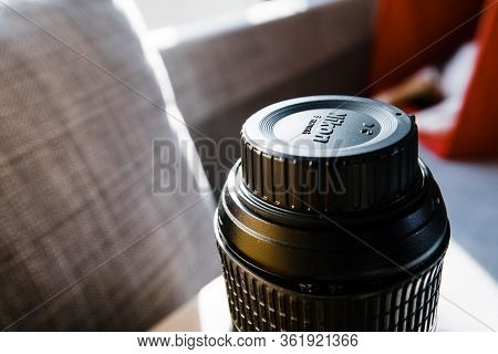 Paris, France - Apr 17, 2019: View Of Nikon Logotype On The Plastic Protection Cap Over Damaged Prof