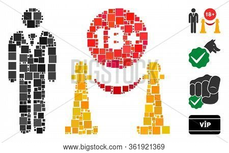 Collage For Adults Only Icon Composed Of Square Elements In Different Sizes And Color Hues. Vector S