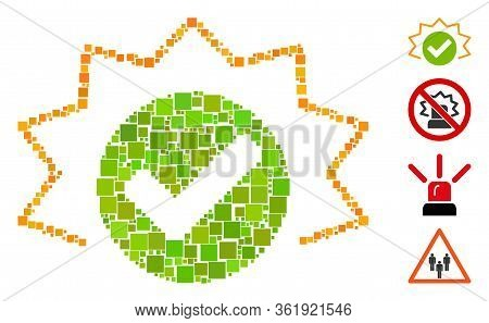 Collage True Alert Icon United From Square Items In Variable Sizes And Color Hues. Vector Square Ite