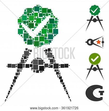 Mosaic Quality Control Meter Icon Organized From Square Elements In Various Sizes And Color Hues. Ve