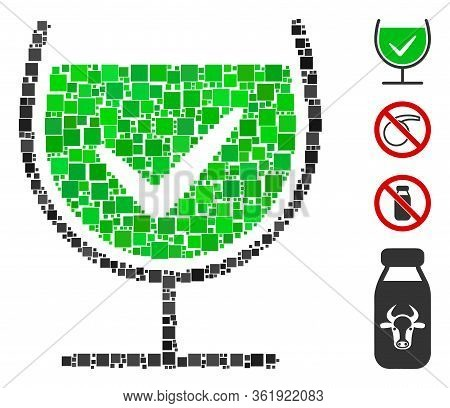 Collage True Drink Glass Icon Constructed From Square Items In Variable Sizes And Color Hues. Vector