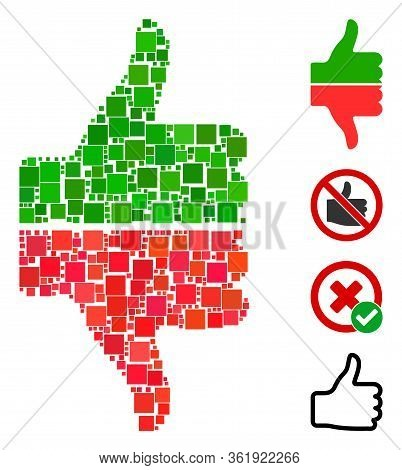 Mosaic Yes No Gesture Icon Constructed From Square Items In Various Sizes And Color Hues. Vector Squ