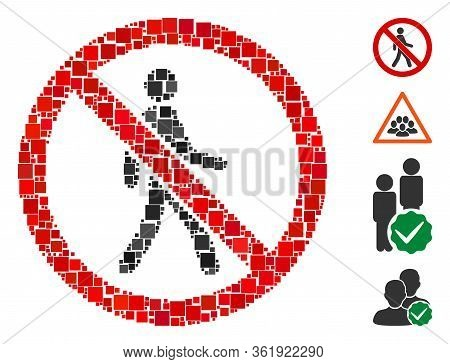 Collage No Trespassing Icon Organized From Square Items In Variable Sizes And Color Hues. Vector Squ