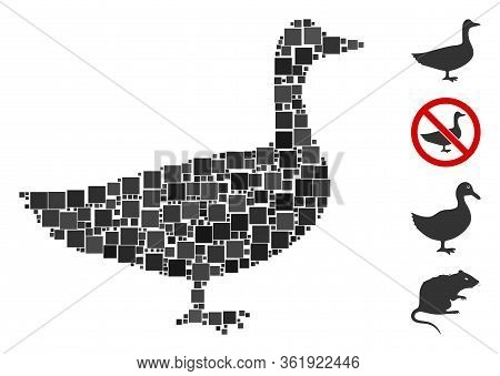 Mosaic Goose Icon Composed Of Square Elements In Various Sizes And Color Hues. Vector Square Element