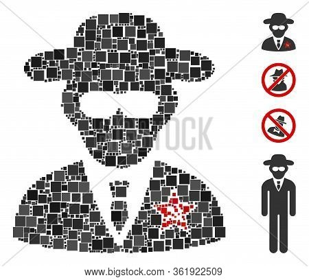 Mosaic Kgb Spy Icon Organized From Square Items In Different Sizes And Color Hues. Vector Square Ele