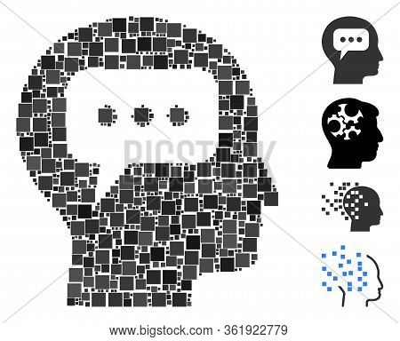 Mosaic Head Opinion Icon Designed From Square Items In Random Sizes And Color Hues. Vector Square It
