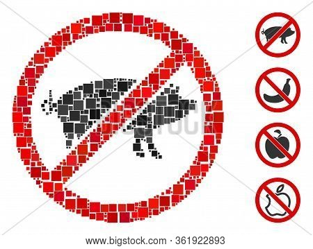 Collage Stop Swine Icon Organized From Square Elements In Various Sizes And Color Hues. Vector Squar
